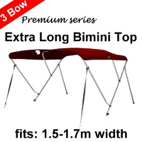 180cm Extra Long 3 Bow 1.5m-1.7m Bimini Top Canopy Cover + Rear Poles&Sock Red